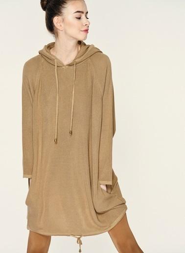 Loves You Kapüşonlu Triko Tunik Elbise Camel